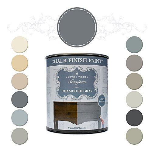 Amitha Verma Chalk Finish Paint, No Prep, One Coat, Fast Drying | DIY Makeover for Cabinets, Furniture & More, 1 Quart, (Chambord Gray)