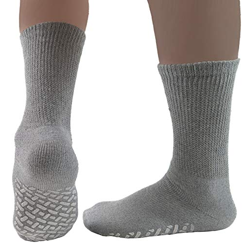 (Diabetic Socks Mens Non-slip Grip Cotton 3-Pack Crew Grey By DEBRA)