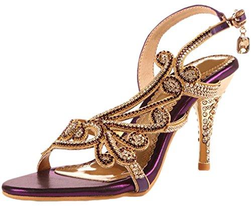 Littleboutique Crystal Studs Sandal Heels Summer Shoes Evening Sandals Wedding Dress Strappy Shoes grape 9