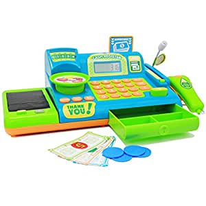 boley kids toy cash register pretend play educational toy cash register with. Black Bedroom Furniture Sets. Home Design Ideas