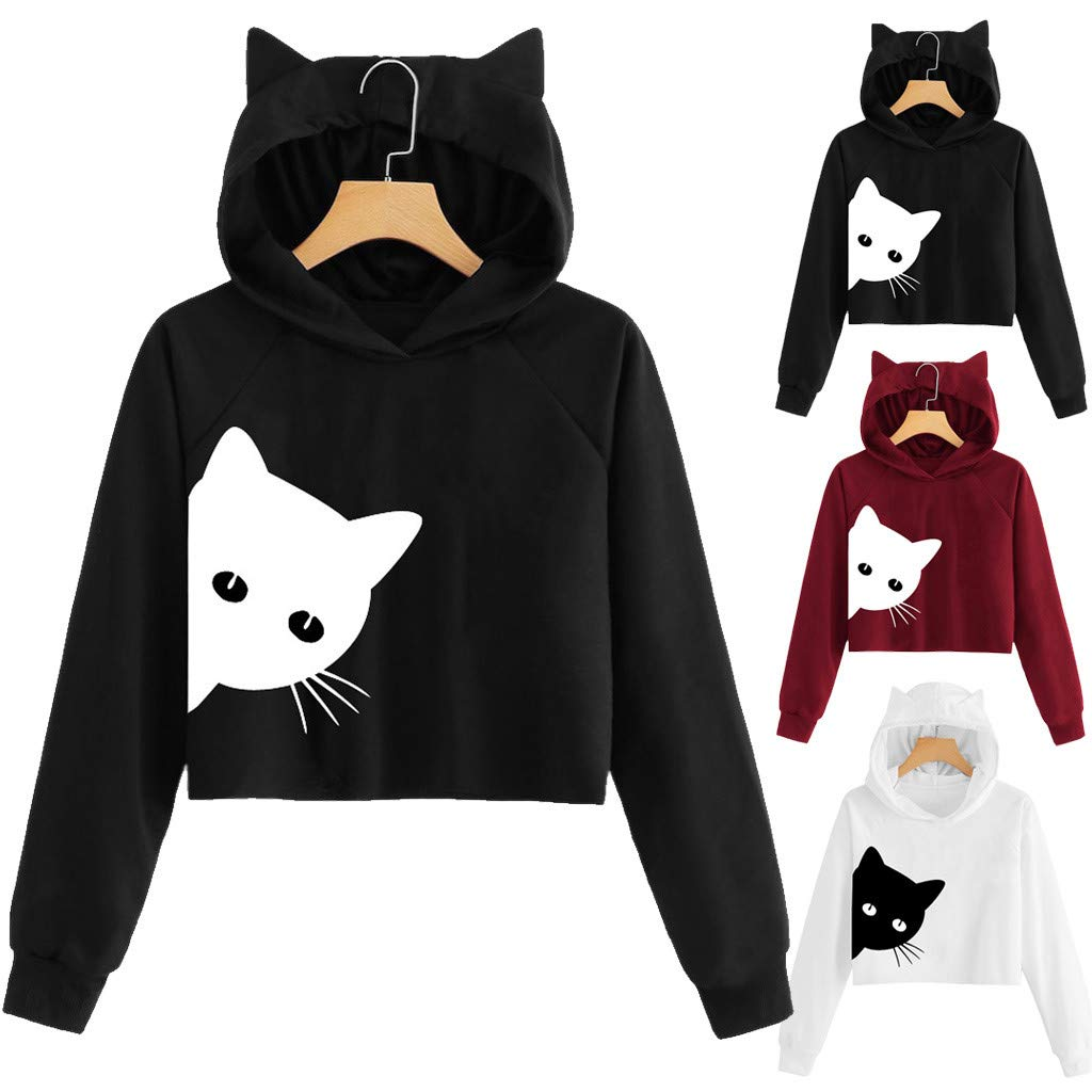 Amazon.com: Mysky Fashion Women Simple Cat Print Short Pullover Top Ladies Casual Solid Cat Hooded Sweatshirt Blouse: Clothing