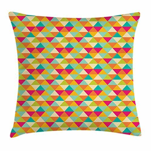 act Triangle Throw Pillow Cushion Cover, Mosaic Style Colorful Chevron Zigzag Pattern with Retro Inspirations, Decorative Square Accent Pillow Case, 18 X 18 Inches, Multicolor ()