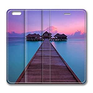 The Maldives Scenery Customized Design Leather Case for Iphone 6 Plus / Iphone 6 Plus Cover Bridge