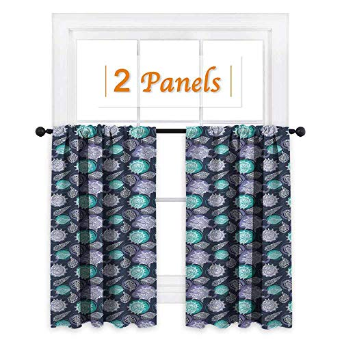 - maisi Nautical, Curtains and Valances, Ocean Theme Seashells Scallop Summer Marine Coastal Grunge, for Party Decoration (W72 x L72 Inch) Lavender Sea Green Night Blue