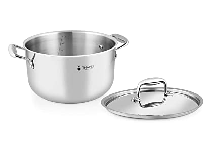 Buy Shapes Stainless Steel Triply Casserole With Lid Multipurpose Use For Kitchen And Restaurant Dishwasher Safe 28 Cm Capacity 10 Ltr Biryani Pot Online At Low Prices In India Amazon In