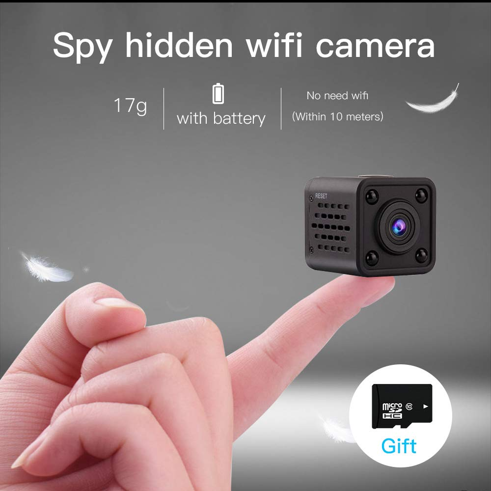 Miniature spy-Hidden Invisible espias Mini Camera Wireless WiFi Mobile Phone Remote Panoramic Camera Home HD Night Vision Network Monitoring Cameras Inside Outside,720p(with 16G Memory Card Inside) by WBZ