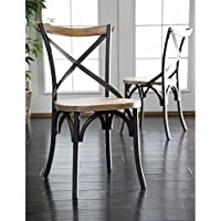 WE Furniture Industrial Reclaimed Solid Wood Dining Chairs, Set of 2