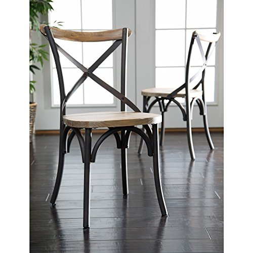 WE Furniture Industrial Reclaimed Metal Legs Solid Wood Seat Rustic Dining Chairs, Set of 2