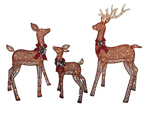 Christmas Reindeer Family 3 Piece Set, Glittering Brown Buck, Doe and Baby Deer Fawn Patio Sculpture for Outdoor Winter Holiday Lawn Decoration Yard Art Santas Reindeer (Reindeer Outdoor Decorations)