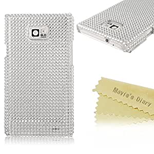 Mavis's Diary Handmade Bling Crystal Design Hard White Case Cover for Samsung Galaxy S2 9100 Internetional Version with Soft Clean Cloth