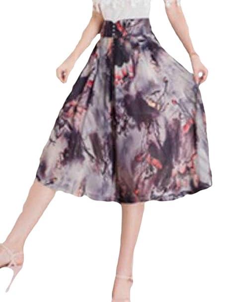 7ad65206b913 Alion Womens High Waist Baggy Floral Print Wide Leg Chiffon Capri Pants at  Amazon Women's Clothing store: