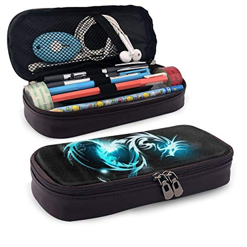 Blue Light Dragon Leather Pencil Case Custom Double Zipper Pen Box Durable Office School Stationery Multipurpose Workbag Makeup Pouch (Double Dragon Mobile)