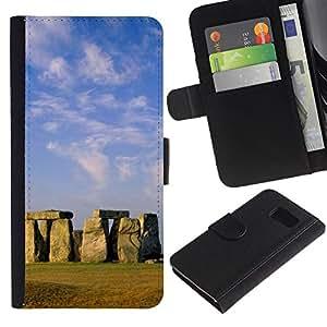 JackGot ( Architettura Stongehenge antica isola orientale ) Samsung Galaxy S6 la tarjeta de Crédito Slots PU Funda de cuero Monedero caso cubierta de piel