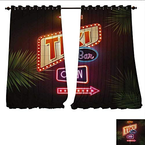Waterproof Window Curtain Old Fashioned Neon Signs Illustration of Open Bar Palm Tree Branches Roadside Blackout Draperies for Bedroom W96 x L108 Multicolor ()