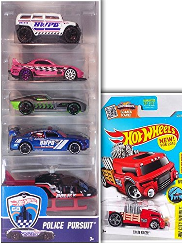 Hot Wheels Bundle- Police Pursuit Showdown 5 Pack: 24/Seven, Fast Felion, Dodge Charger Drift Car, Rockster, Propper Chopper & 1 Hotwheels Showdown Die Cast Metal Car (Assortments May (Abc 13 Days Of Halloween)