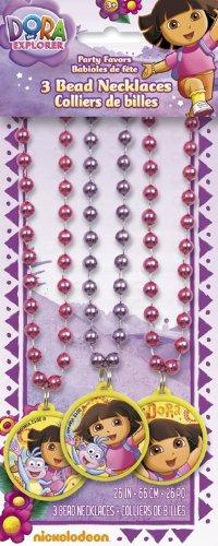 Dora the Explorer Bead Necklaces Party Favors, 3ct