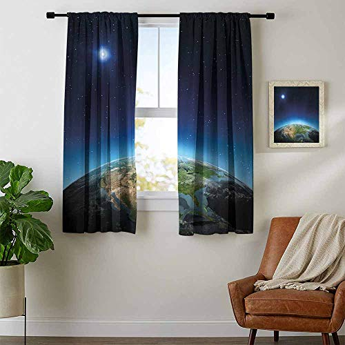 Mozenou Earth, Curtains Blackout, North America Continent on Globe Earth Galaxy Milky Way Realistic View, Curtains Kids Bedroom, W63 x L45 Inch Indigo Light Blue Green