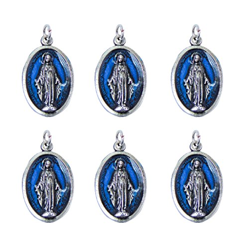 Grace Medal Pendant - Catholica Shop Catholic Religious Wear Our Lady of Grace Oxidized Silver Medal Pendant With Blue Enamel - 0.59