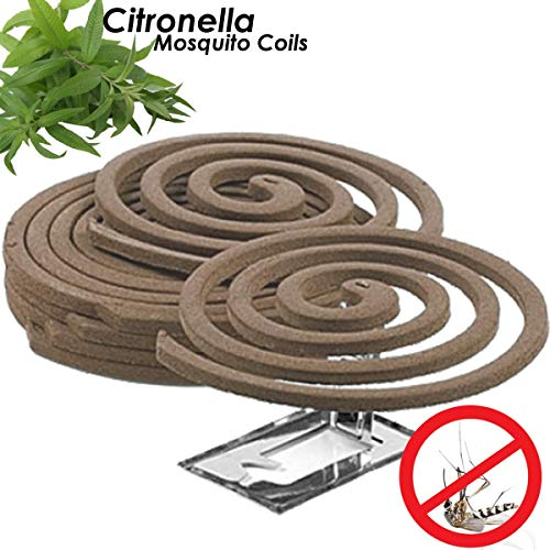 W4W Citronella Mosquito Repellent Coils - Outdoor Use Reaches Up to 10 feet - Each Coil Burns for 5-7 Hours (Five Pack Contains 20 coils & 10 Coil Stands) (Pic Mosquito Repellent Coils)