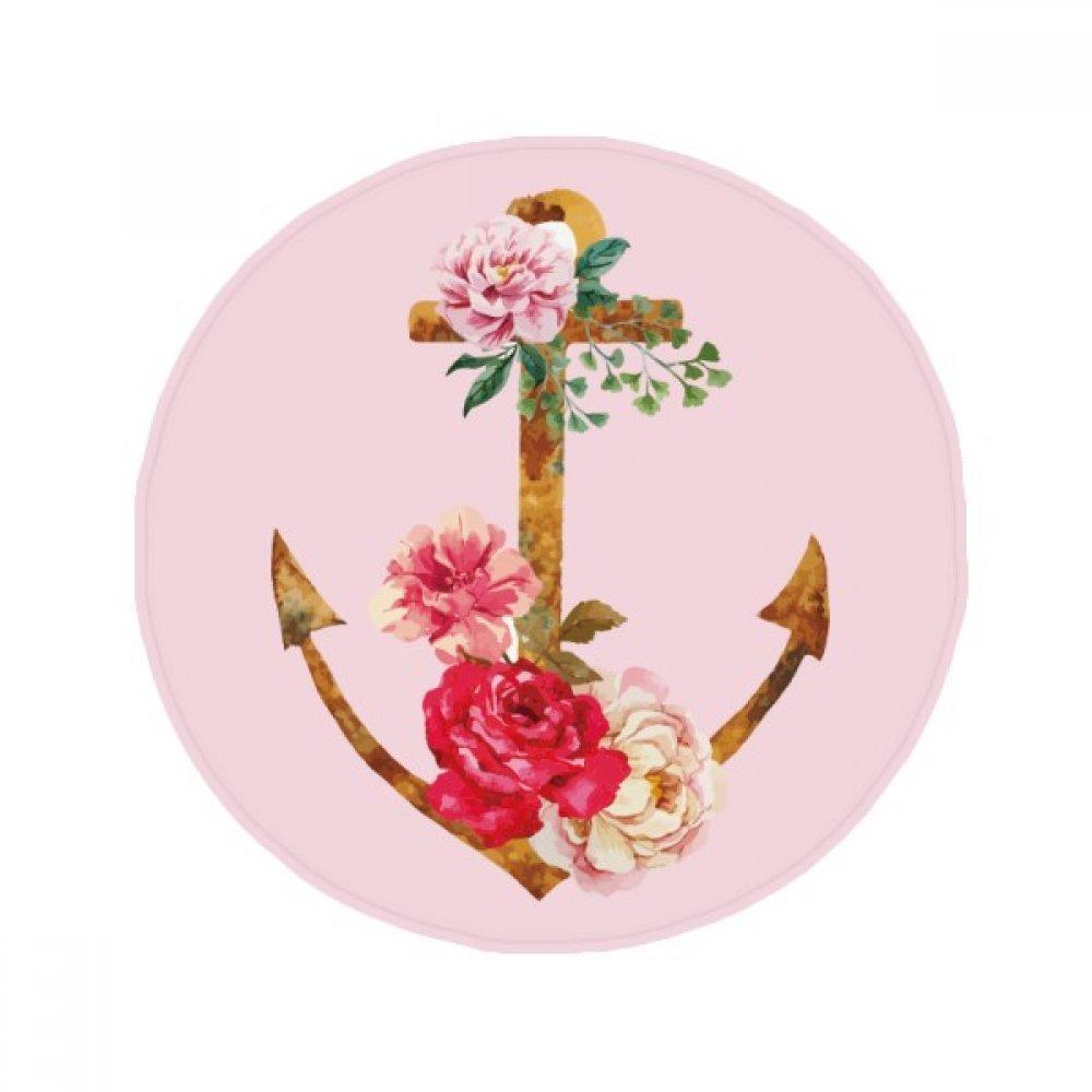 60X60cm DIYthinker Watercolor pink Anchor Flower Plant Anti-Slip Floor Pet Mat Round Bathroom Living Room Kitchen Door 60 50Cm Gift