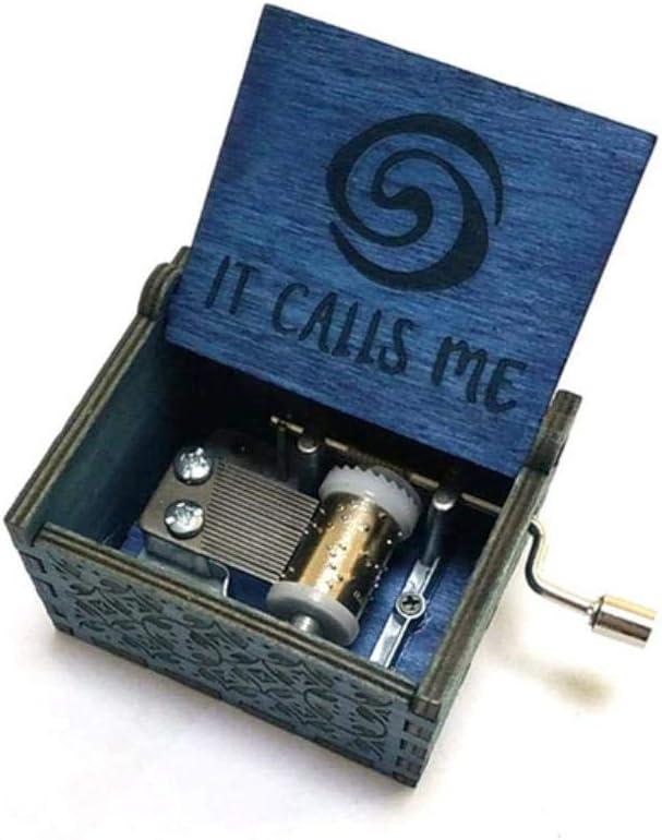 Bhu - Caja de música de madera tallada con manivela de madera para regalo de cumpleaños, regalo de fiesta, pulsera de princesa isla