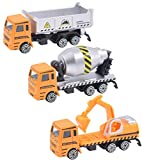BeenUDog Diecast Construction Car Toys Set - Dump Truck, Excavator, Cement Mixer Truck Toy Vehicles...