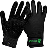 #1 Ranked, Award Winning Handson Gloves for Shedding, Bathing, Grooming, De-Shedding Horses, Dogs, Cats, Livestock, Small Pets BLK Medium