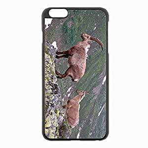 Iphone 5C Black Hardshell Case 5.5inch - mountain cliff rocks antlers mountain goats Desin Images Protector Back Cover Kimberly Kurzendoerfer