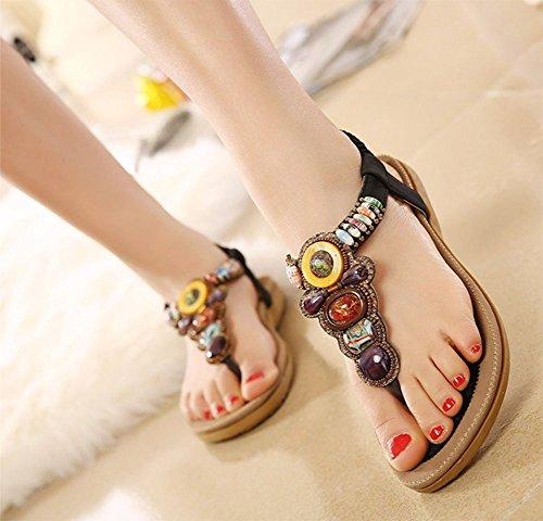 Chfso Dames Boho Kralen Flip Flops Plus Schoenen Sandalen Schoenen Zwart
