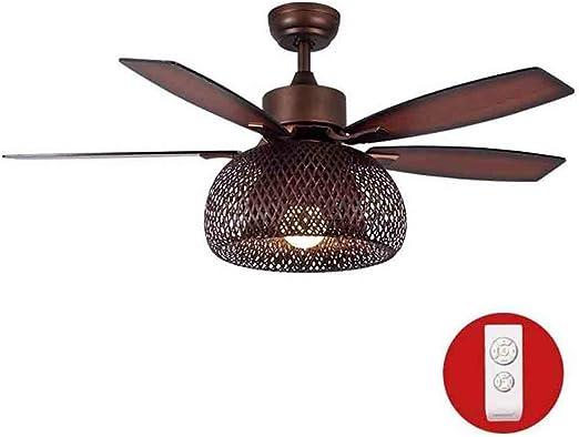 Ventilador de techo LED con kit de luces, pantalla de bambú de 1 luz Luz de