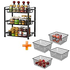 Kitchen Spice Rack and Wire Storage Basket, iSPECLE 3 Tier Spice Rack for Kitchen Bathroom Organizer and 4 PAck Black Wire… spice racks