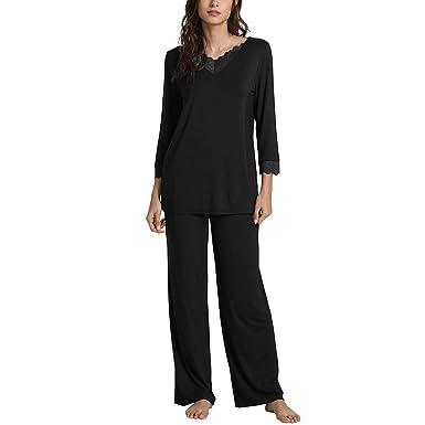 ec88e72d32 WiWi Bamboo Long Sleeve Moisture Wicking Sleepwear for Women Laced V Neck  Pajamas Pants Set S