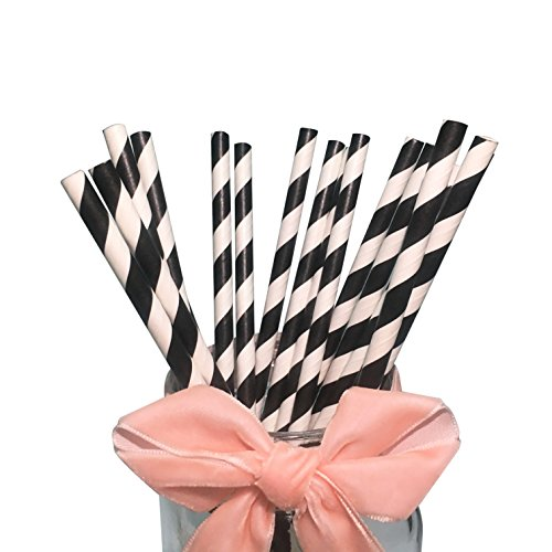 White and Black Stripes Paper Drinking Straws Party Dectorat