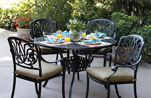 Darlee Elisabeth Cast Aluminum 5-Piece Dining Set with Seat Cushions and 48-Inch Round Dining Table, Antique Bronze Finish