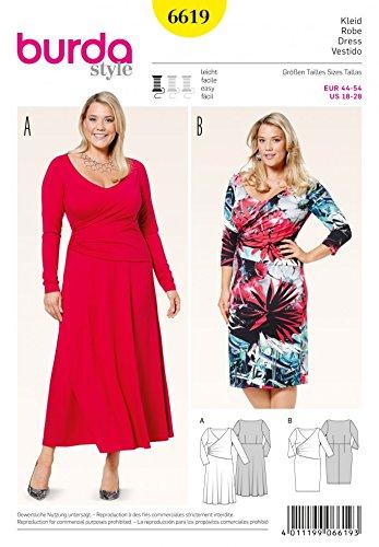 Burda Ladies Plus Size Easy Sewing Pattern 6619 Jersey Knit Wrap ...
