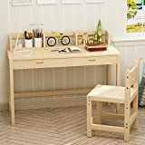 Tribesigns Unfinished Kids Study Desk and Chair Set with Hutch, Height Adjustable Solid Wood Writing Student Desk for Child, Smart Design Great for Kid's Bedroom or Any Small Space (Natural wood)