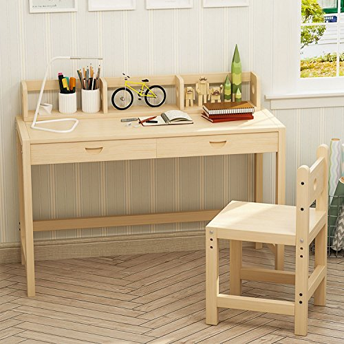 Tribesigns Kids Study Desk and Chair Set with Hutch, Height Adjustable Solid Wood Writing Student Desk for Child, Smart Design Great for Kid's Bedroom or Any Small Space (Natural wood) by Tribesigns