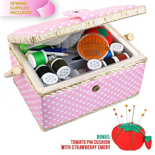 Medium Sewing Basket Organizer with Complete Sewing Kit Accessories Included, Wooden Sewing Box Kit with Removable Tray and Tomato Pincushion for Sewing Mending, Pink (Quilting Basket)