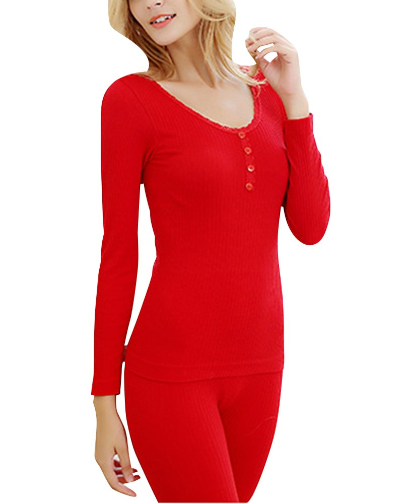Women's Scoop Neck Top & Bottom Thermal Underwear Set With Four Buttons