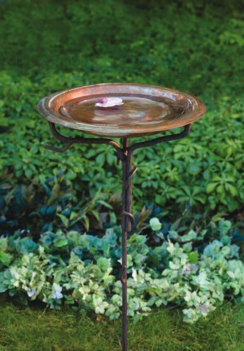 Ancient Graffiti Solid Copper Birdbath with Iron Twig Stake