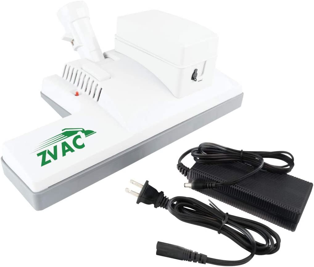 """ZVac Vacuum Powerhead Nozzle Brush for Universal Vacuums & Central Vacuum Systems with 1 1/4"""" Wands - Rechargeable Battery Powered - 12"""" Wooden Brush - Includes Charger - Model ZPH-1BW - White"""