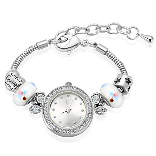 MANBARA Women's Engraved Love White Charm Bracelet Watches