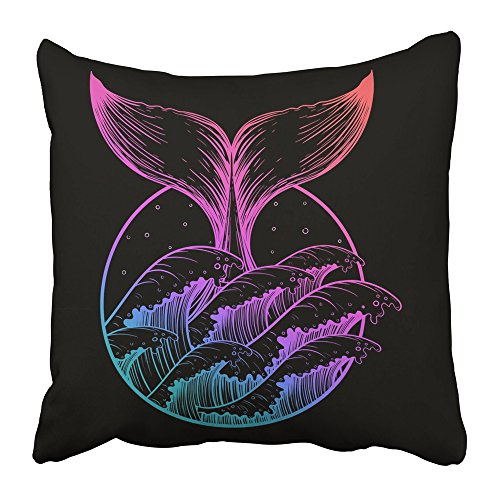 Emvency Throw Pillow Covers Print Whale Tail in Sea Waves Boho Color Tattoo Ocean Line Drawing Nautical Symbol Design Sketch Blackfor Polyester 18 X 18 Inch Square Hidden Zipper Decorative (Spring Coloring Pages To Print)