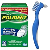Polident Overnight Whitening Denture Cleaner Tablets 120 count with Dentu-Care Denture Brush for Maintaining Good Oral Care of Full/Partial Dentures