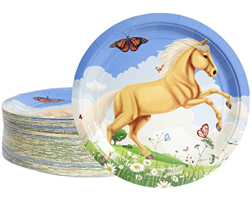 Disposable Plates - 80-Count Paper Plates, Horse Birthday Party Supplies for Appetizer, Lunch, Dinner, and Dessert, Kids Birthdays, 9 Inches in Diameter]()