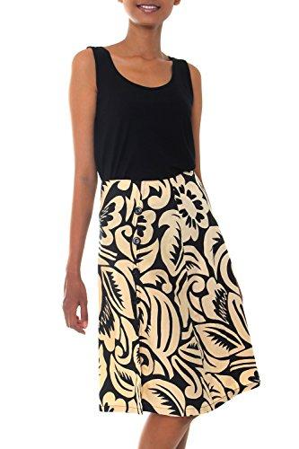 NOVICA Black 100% Cotton Batik Wrap Skirt, 'Balinese Shadow' by NOVICA