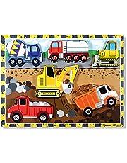 Melissa & Doug Construction Vehicles Wooden Chunky Puzzle