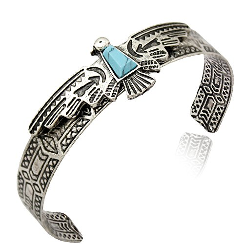 Eagle Jewelry - Silver Plated Vintage Tribal Southwest Turkey Eagle Blue Stone Zuni Navajo Aztec Cowgirl Bracelet Bangle Cuff