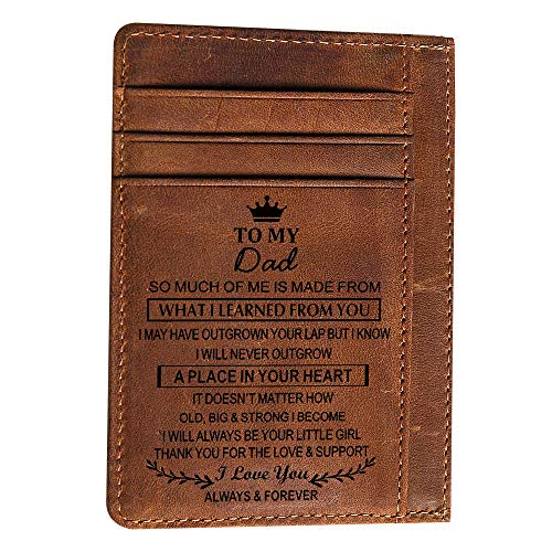 Engraved Pocket Wallet To My Son Dad Husband, Personalized Gift Slim Cards Case Money Clips (Chocolate-To My Dad From Daughter) (Best Gift For My Dad)