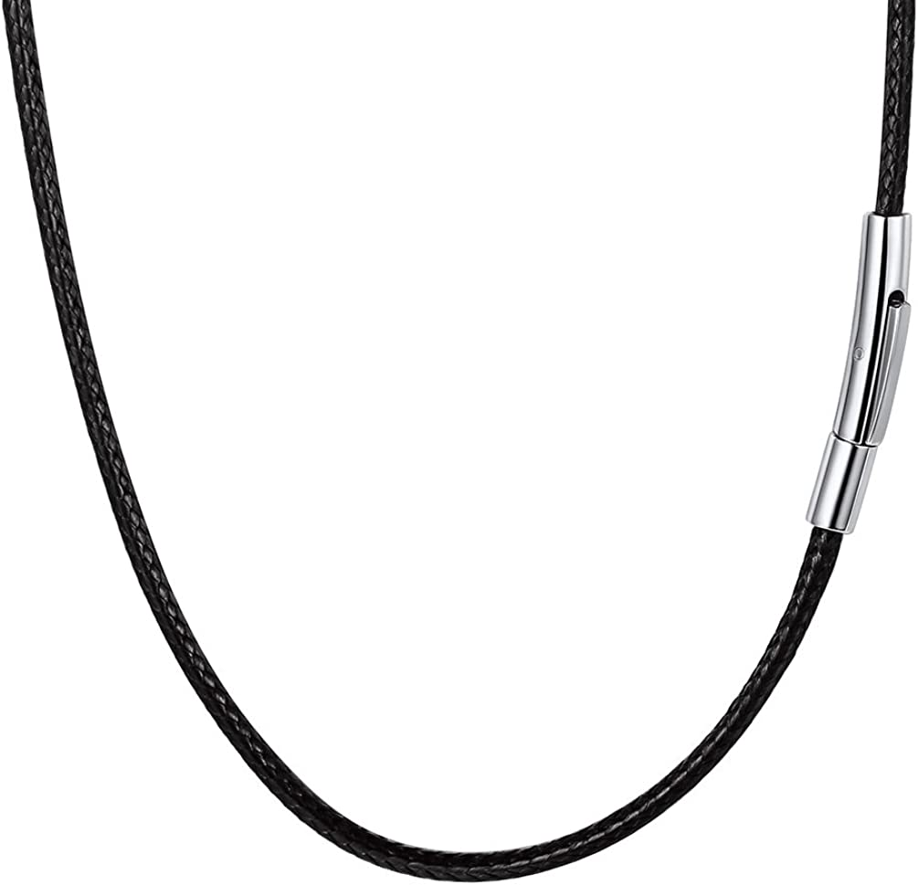 PROSTEEL Collar de Cordón para Hombre, Negro/Marrón/Blanco/Rojo/Rosado, 2mm/3mm Cadena de Cuero con Cierre de Acero Inoxidable Collar Básico, 41cm/46cm/50cm/55cm/61cm/66cm/71cm/76cm con Caja de Regalo